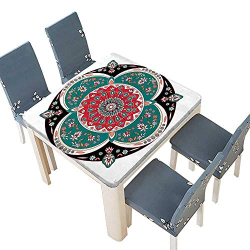 PINAFORE Table in Washable Polyeste Oriental Ornate Embriodery Style Floral Ethnic Pattern Illustration Old Eastern Artisti Banquet Wedding Party Restaurant Tablecloth 57 x 57 INCH (Elastic Edge) Cafe Des Artistes Restaurant