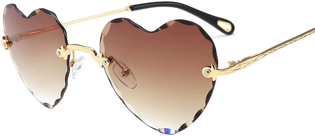 non-brand Sharplace Occhiali da Sole Senza Cornice Lenti Piatte a Forma di Cuore UV400 per Donna Ragazza
