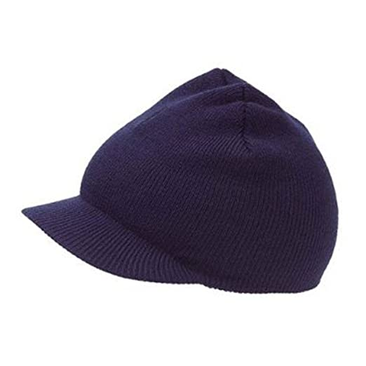 7483500a628bc Image Unavailable. Image not available for. Color  NEW CUFFLESS Navy Blue Beanie  Visor Skull Cap HAT