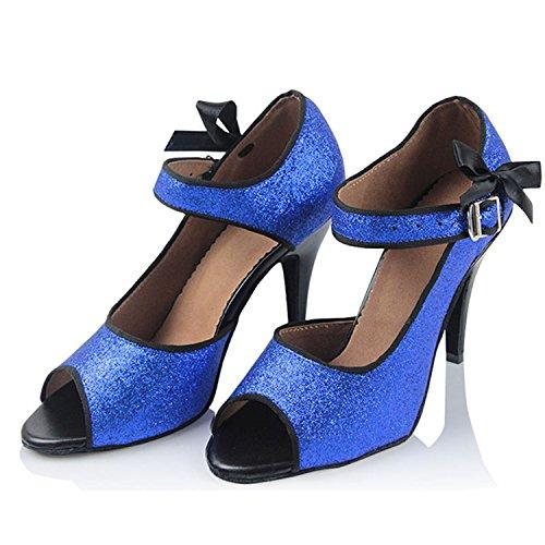Ballo per Caviglia da Scarpe Jazz da Moderno Blu Cinturino Scarpe Scarpe Onecolor alla Ballo Latino Estate Samba Ballo Latino BYLE Cinturino Adulti Cuoio da Scarpe Sandali di qw6XxnUAg