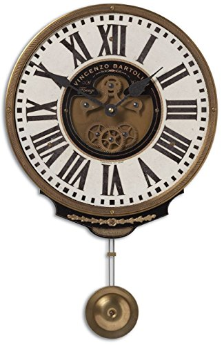 Baroque Tuscan Exposed Gears Brass / Cream Pendulum Wall Clock