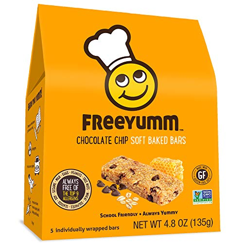 FreeYumm Allergen Free Granola Bars, Gluten Free, Dairy Free, Nut Free Snacks for Kids, Total of 15 Bars (Chocolate Chip) (Diary Free Snacks)