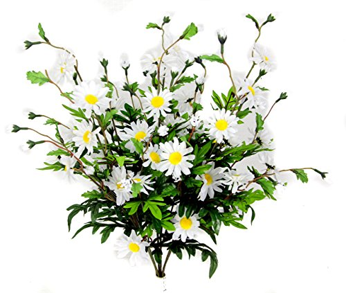 Admired By Nature 6 Stems Artificial Full Blooming Daisy Flower Buds & Greenery for Home, Wedding & Office Decoration Arrangement, White