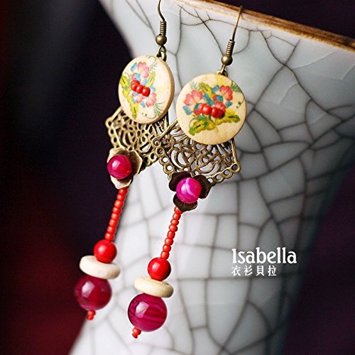 TKHNE Clothes Bella original handmade jewelry national wind classical Chinese style complex Rose chalcedony earrings earrings earrings women girls