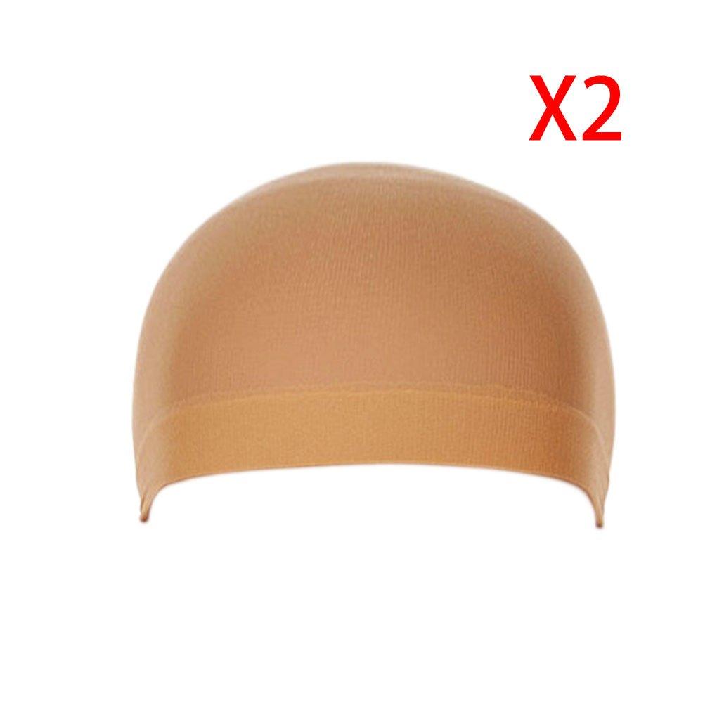 Meisijia 2Pcs Unisex Elastic Hair Liner Snood Stretch Mesh Wig Cap Beige
