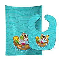 Caroline's Treasures Baby Bib & Burp Cloth, Noah's Ark, Large