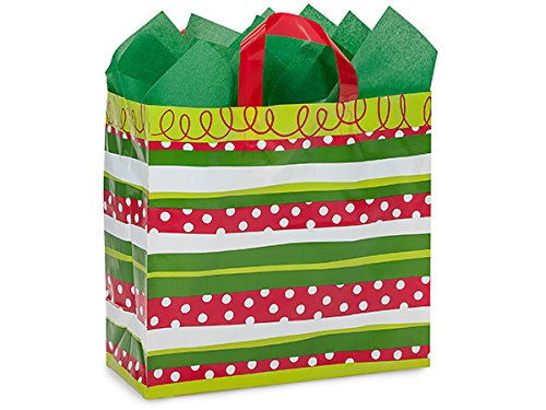 Metro Christmas Stripe Plastic Bags 150 3 mil Shopping Bags 13x6x12'' (Unit Pack - 150) by Better crafts