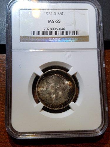 Ngc Slabbed - 1951 S Washington Quarter 25c MS 65 NGC