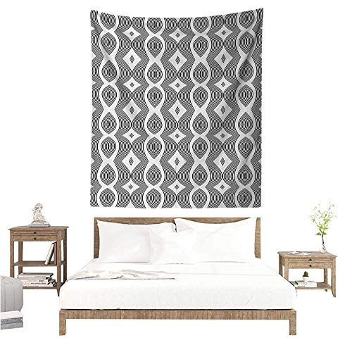 Marilds Contemporary DIY Tapestry Monochrome Waving Pattern with Curves and Diamond Shapes Op Art Design Occlusion Cloth Painting 51W x 60L INCH Black and ()