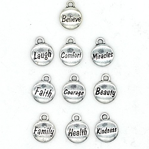 100PCS 10 Words Inspirational Charms Collection, Silver Tone Round Charm Pendants, Vintage Jewelry Supply Lot, C37