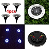Solar Ground Lights,1PC/4PCS Solar Power Light Under Ground 10LED Lamp Outdoor In-Ground Path Garden Decking (4PCS)