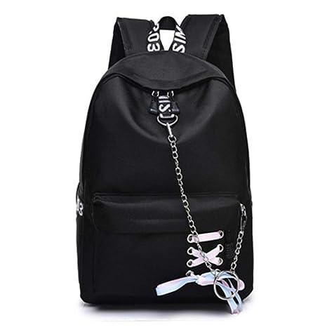 Mochilas de Lona para Mujer Mochilas Escolares Black 30x14x41cm