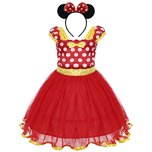 Toddler Girl Princess Polka Dots Christmas Birthday Costume Bowknot Ballet Leotard Tutu Dress up+3D Mouse Ear Headband Y# Red+Gold 2-3 Years -