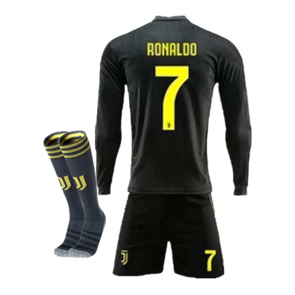 new styles 9229a 2e77d New Season 18/19 Juventus #7 Ronaldo Away Kids/Youth Long Sleeve Soccer  Jerseys/Shorts/Socks Black