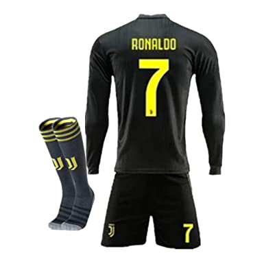 new styles bc072 52cfb New Season 18/19 Juventus #7 Ronaldo Away Kids/Youth Long Sleeve Soccer  Jerseys/Shorts/Socks Black