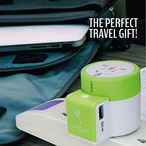 Dandelion Travel adapter Outlet adapter travel accessory with dual USB ports Universal Charger (UK, US, AU, Europe & Asia) International Power Plug Adapter with safety fuse - great travel gift (Green) by Dandelion (Image #6)