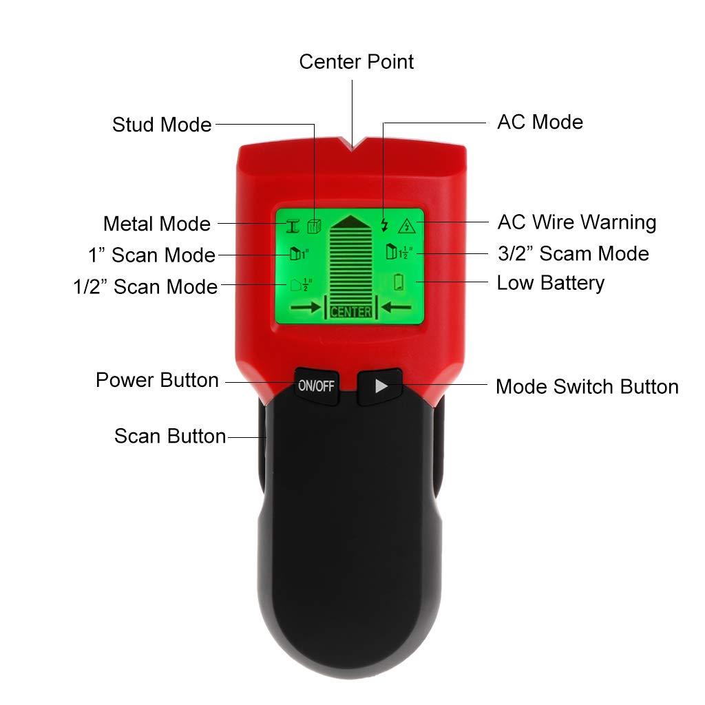 qiman pared Perno de detector de metales Visor con gran pantalla LCD digital Madera pernos búsqueda y cable CA Live alambre de equipo de impresión Alerta: ...