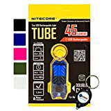 *NEW* NITECORE TUBE Tiny USB Rechargeable LED Light 45 Lumens 5 COLORS AVAILABLE - BLACK, GREEN/OLIVE, PINK, BLUE, CLEAR/TRANSPARENT w/ Lightjunction Keychain light (Blue)