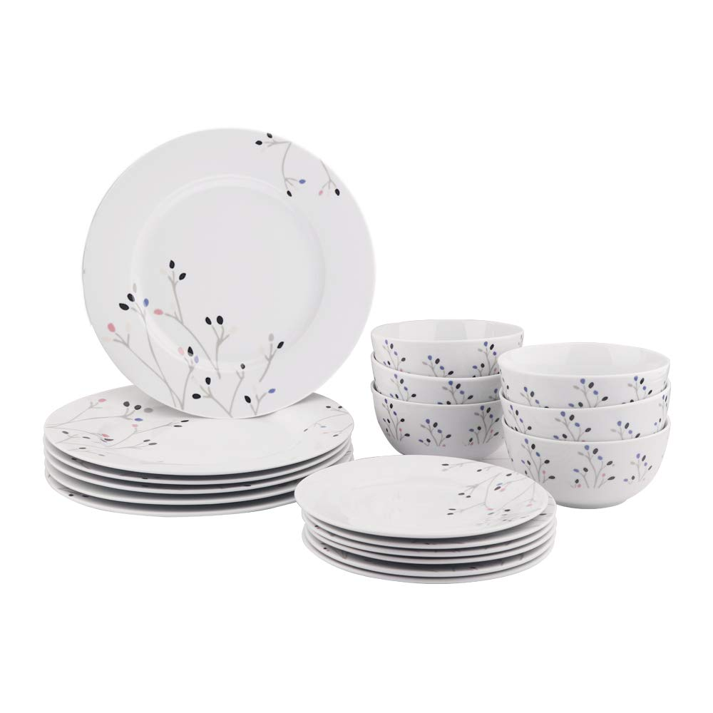 AmazonBasics 18-Piece Kitchen Dinnerware Set, Dishes, Bowls, Service for 6, Branches by AmazonBasics