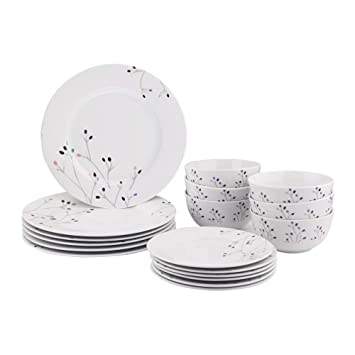 AmazonBasics 18-Piece Kitchen Dinnerware Set, Dishes, Bowls, Service for 6,  Branches