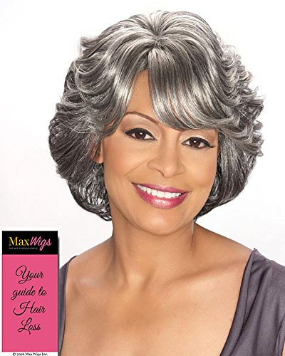 Cece Wig Color 3T280 - Foxy Silver Wigs Short Flipped Shag Wavy Layers Synthetic Side Swept Bangs African American Women's Machine Wefted Lightweight Average Cap Bundle with MaxWigs Hairloss Booklet (Medium Hair With Layers And Side Swept Bangs)