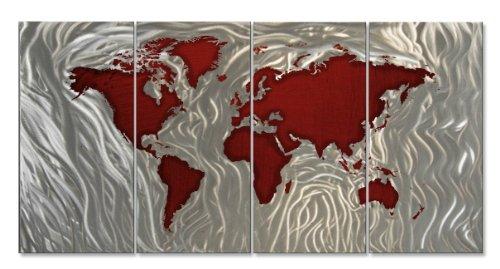 World Map Wall Art Modern Metal Sculpture décor by Ash Carl
