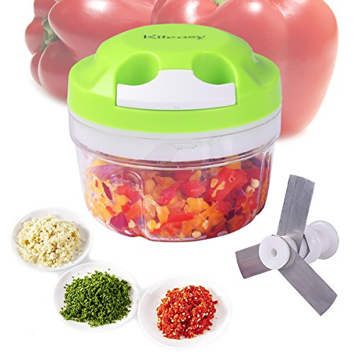 Kiteasy Vegetable Chopper, Manual Food Mixer/Blender to Chop Fruits, Veggies, Nuts, Herbs, Onions, Garlics, Salsa, Salad, Pesto, Coleslaw, Puree, 3 Stainless Steel Blades, Blade Case, 300ml, (Speedy 30 Mini)