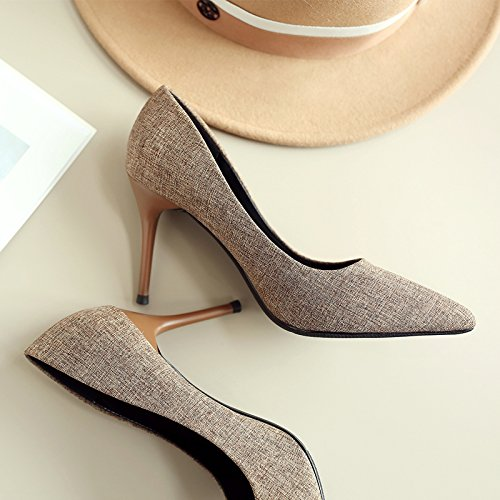 With High 38 Work Fine Match Shoes Shoes Lady Shoes Point Work Elegant Brown All MDRW Leisure 8Cm Occupation Heels Work Spring Y7w6TxRg
