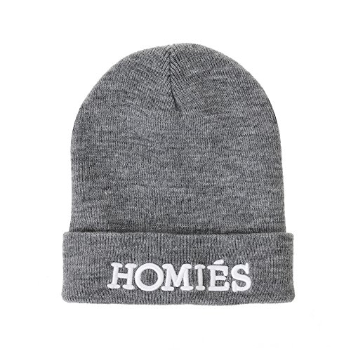 Winter de Gorros Cap AM5890 Embroidery Homies Punto WITHMOONS Beanie Plain Gris Hat Solid OAwzRq