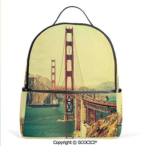 (All Over Printed Backpack Old Film Featured Golden Gate Bridge Suspension Urban Path Construction Scenery,Blue Brown,For Girls Cute Elementary School Bookbags)