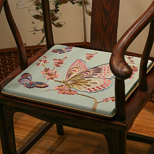 - JYTT Butterfly Flower Cotton Breathable Embroidered Couch Chair Pads Sofa Seat Pad Sponge Dining Chair Redwood Padded Cushion Bench Chinese Stylered Gray Blue Yellow Beige-a 50x40x3cm