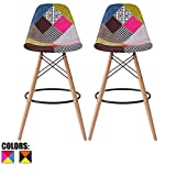 2xhome – Set of Two (2) – Multicolor – 26″ Seat Height Modern Upholstered Bar Stool Barstool Counter Stools with Backs and armless Natural Legs Wood Eiffel Legs Dowel-Leg For Sale