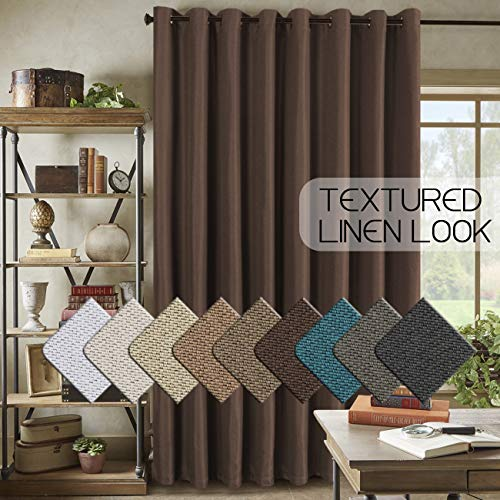 Textured Linen Curtains Double Wide Curtain Panels for Patio Door (100