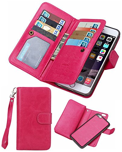 iPhone 5S/SE Wallet Case, HYSJY Magnetic Detachable PU Leather Wallet Purse For Women Men with Strap , Credit card Slots, Card Holer,Flip Slim Cover Case Fit iPhone 5/5S/SE (CARD-Rose)