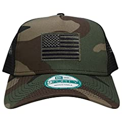 This New Era 5 Panel USA American Flag Iron On Patch Snapback Trucker Cap has mesh mid and back panels for superior ventilation and a trend-right snapback closure for an easily adjustable fit. Fabric: 100% cotton twill front panels and bill. ...