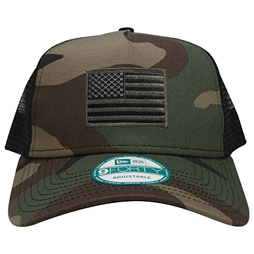 - New Era 9FORTY 5 Panel USA Flag Patch Snapback Trucker Cap - CAMO - BLACK OLIVE