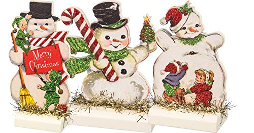 Primitives by Kathy Vintage Christmas Stand Up Set, Set of 3, Retro Snowmen, 3 Piece -