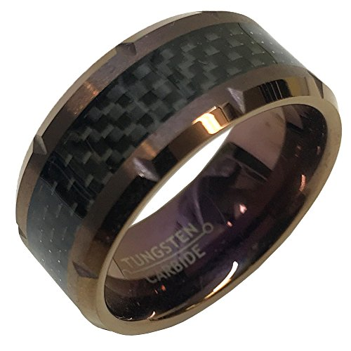10mm Him Her Tungsten Carbide Beveled Edge cuts & Carbon Fiber Inlay Wedding Band Ring - Pick Your Color!