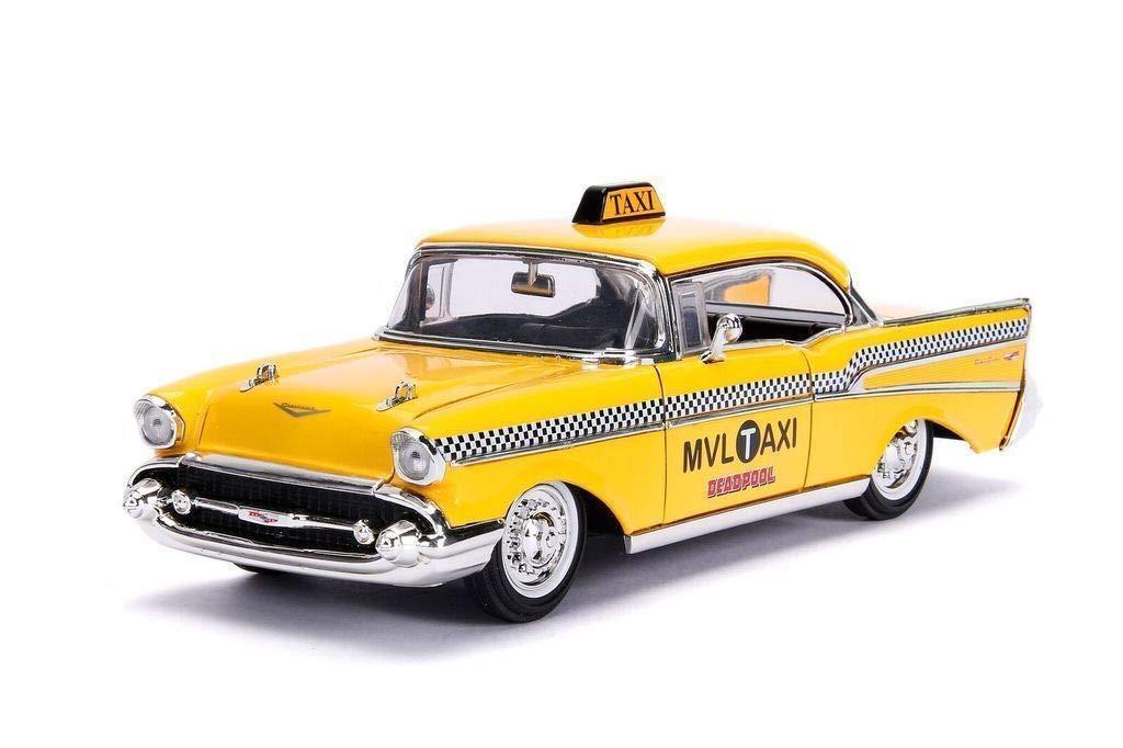 DIECAST 1:24 W//B Deadpool Figure /& 1957 Chevrolet BEL AIR Taxi 30290 by JADA Hollywood Rides Metals