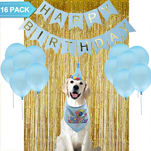 PUPTECK 16 Pack – Dog Birthday Bandana – Cute Party Hat – Happy Birthday Banner, Party Backdrop, 12pcs Blue Balloons – Decorations Kit