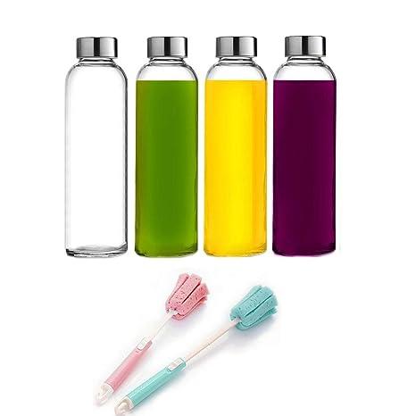 Paquete de 4 botellas de agua de vidrio 18 oz / 550 ml ...