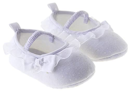 Kuner - Zapatillas para bautizo, baile, con lazo, para bebé niña, Blanco