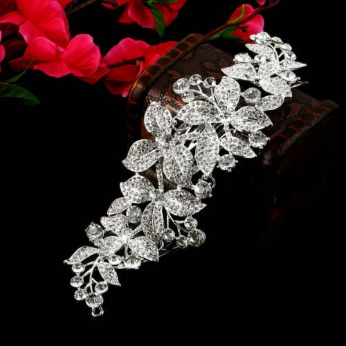 Alicenter(TM) Large Leaf Wedding Bridal Rhinestone Crystal Hair Comb Hairpin Accessories