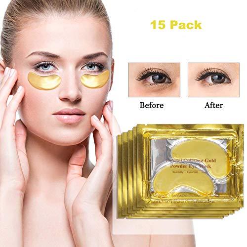Eye Care Mask Eye Pads 24K Gold Collagen Eye Mask Anti Aging Eye Treatment Mask Eye Pads Patches for Puffy Eyes Treatment Dark Circle Anti Wrinkle Eye Patches Eye Gel Pads Care Eye Moisturiser Mask