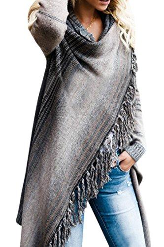 Women's Striped Tassel Fringe Long Sleeve Pullover Sweater Open Front Knit Cardigan Grey S