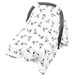 Baby Car Seat Cover, Car Seat Canopy, Receiving Blankets, Stroller cover, Cotton Muslin, Large Lightweight and Breathable Canopy, Standard Newborn Carseats, Protecting Infants and Toddlers (tent)