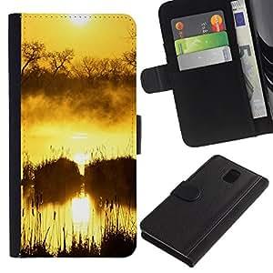 JackGot ( Tramonto Beautiful Nature 50 ) Samsung Galaxy Note 3 III la tarjeta de Crédito Slots PU Funda de cuero Monedero caso cubierta de piel