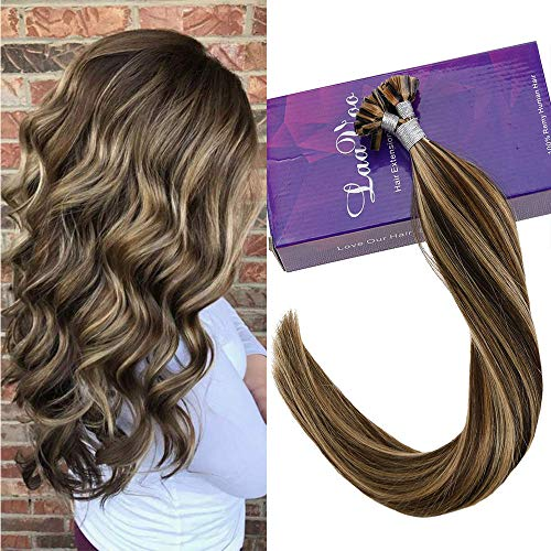 Caramel Color Highlights - LaaVoo Dark Brown Hair with Caramel Highlights Flat Tip Fusion Hair Extensions 16