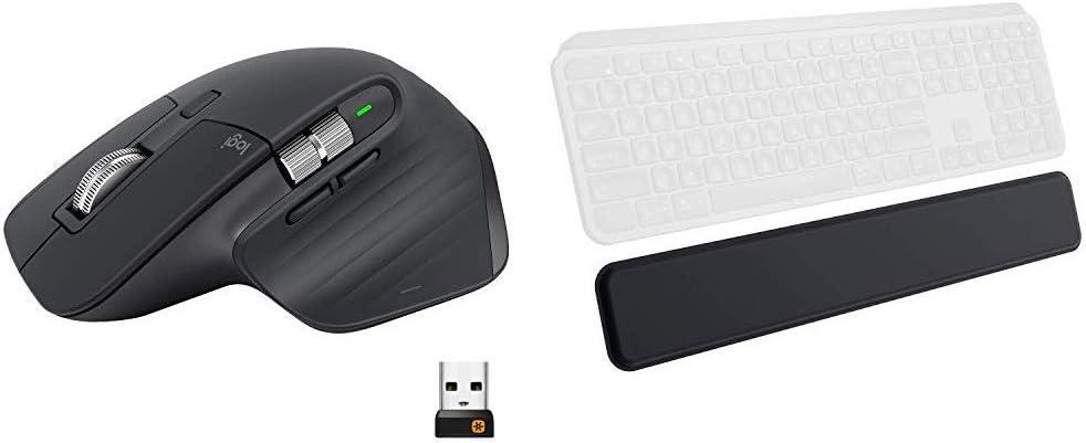 Logitech MX Master 3 Advanced Wireless Mouse - Graphite Bundle with Logitech MX Palm Rest