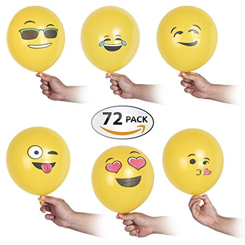 Premium Emoji Party Balloons 12 Inch – 72 Pack Party Decorations – Ideal Wall & Room Décor Supplies - Fun & Funny Décor For Birthday Parties, Wedding Receptions & Pool Parties